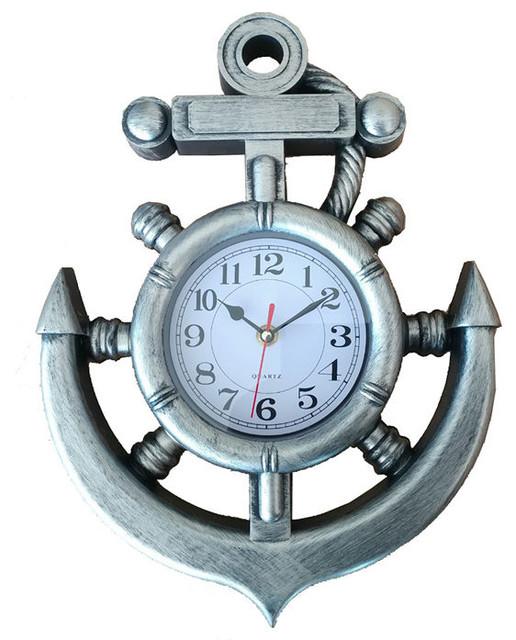 Nautical Ships Wheel Clock Wall Mounted Natural Beach Decor Wall Ornament e