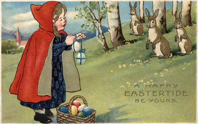 """""""Red Hooded Girl Handing Eggs To Rabbits"""" Print, 9""""x12"""""""