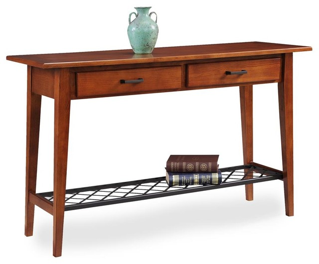 Two Drawer Sofa Table Transitional Console Tables by