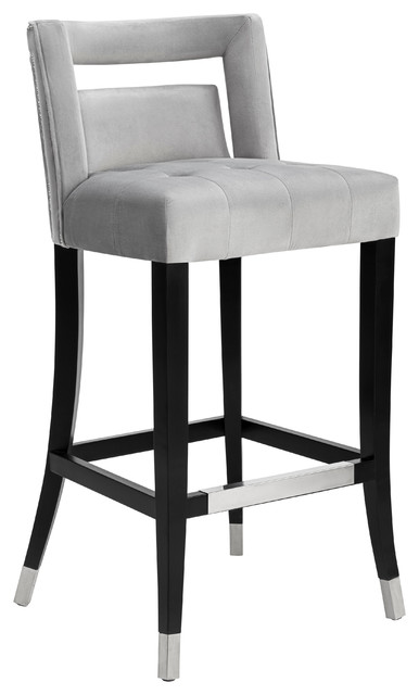 Hart Grey Velvet Counter Stool.