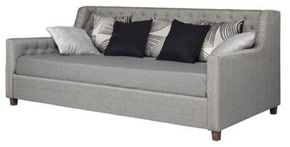 Gray Linen Upholstered Day Bed With Tufted Detailing, Wood Legs, Twin.
