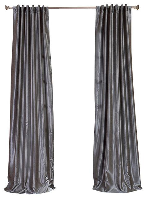 Textured Vintage Faux Dupioni Silk Single Panel Curtain Storm Gray 50 X96