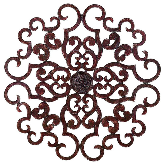 "Medallion Wall Art Best 50"" Oversize Brown Scroll Wall Medallion Round Art Metal Iron Inspiration Design"