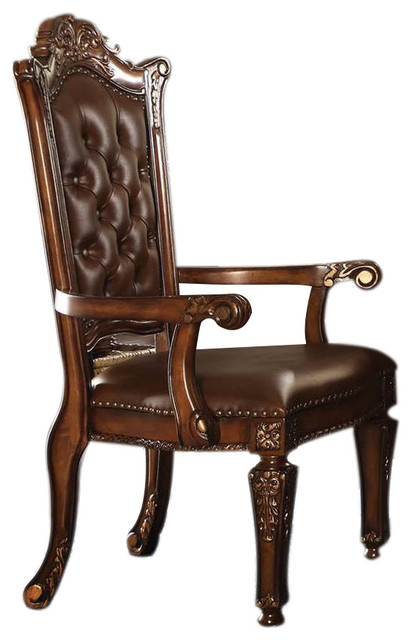 Acme Vendome Office Arm Chair, Cherry 92126 Victorian Armchairs And Accent