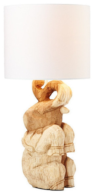 Ou0027THENTIQUE Hand Carved Natural Acacia Wood Elephant Table Lamp  Transitional Table Lamps
