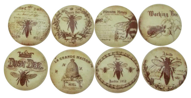 Set of 8 Honey Bee Cabinet Knobs - Cabinet And Drawer Knobs - by Twisted R Design