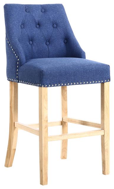 Camden Linen-Effect Buttoned Bar Chair, Sapphire Blue