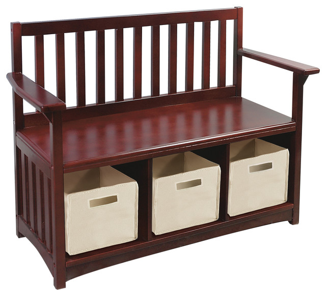 Kids Storage Bench Furniture Toy Box Bedroom Playroom: Classic Espresso Storage Bench
