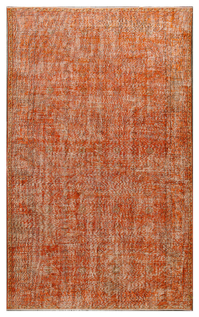 Vintage Patchwork Overdyed Orange Wool Rug 19045 6 X10