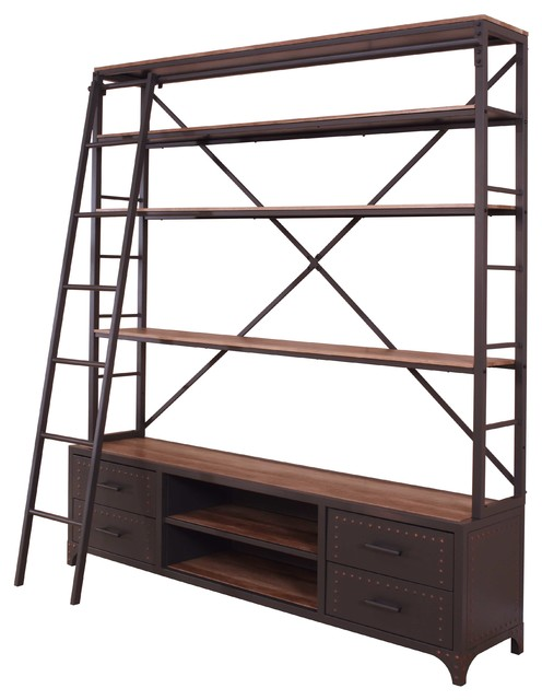on sale ecdb1 735b2 Bookcase With Ladder, Sandy Gray, Metal Tube, Paper Veneer