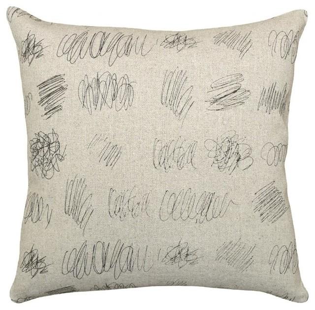 Scribbles Smokey Gray, Hand-Printed Linen Pillow.