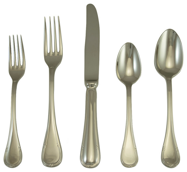 Vendome Place Setting Set Of 5 Modern Flatware And Silverware Sets By Silver Superstore