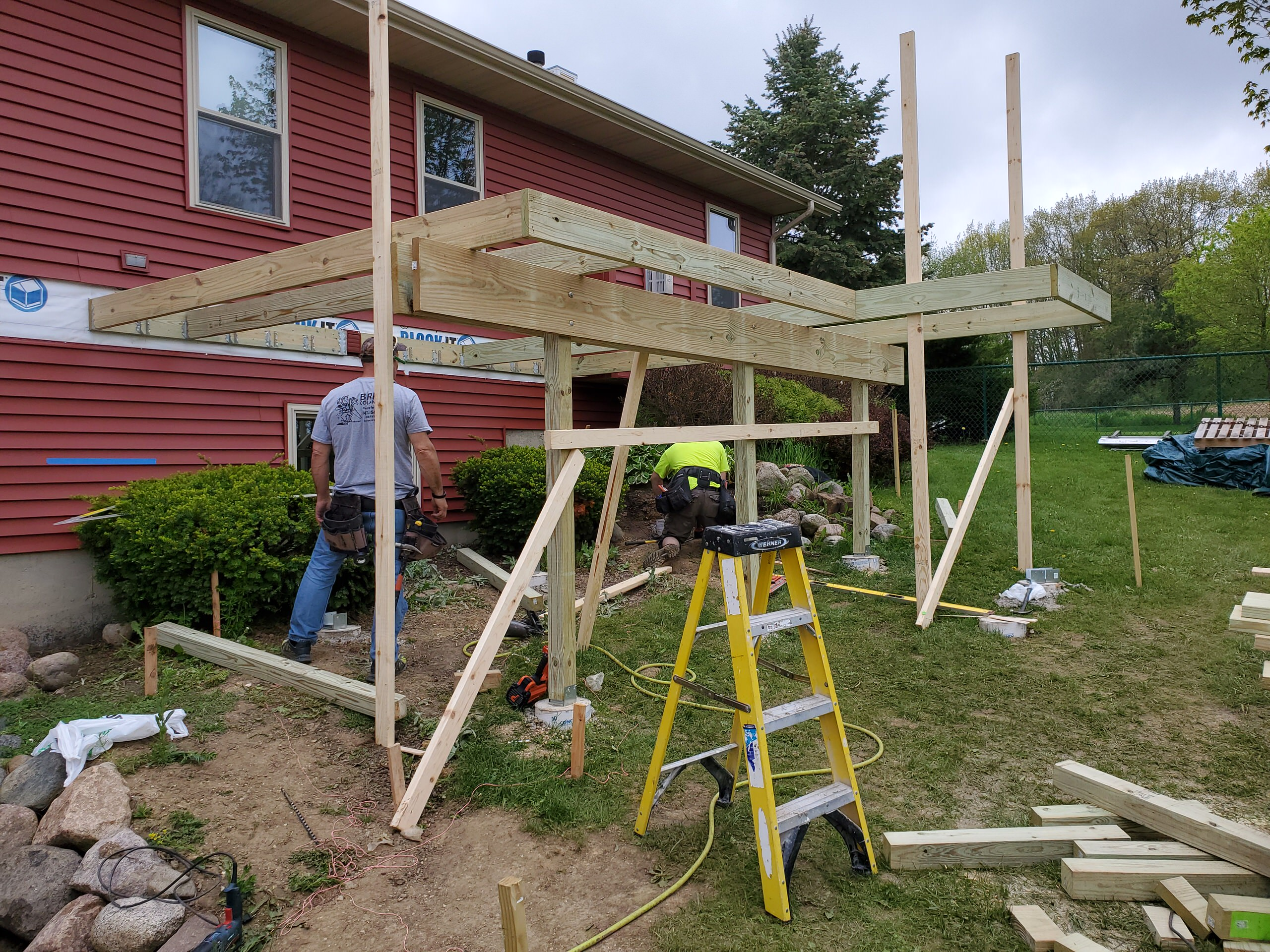Composite deck support beams going in