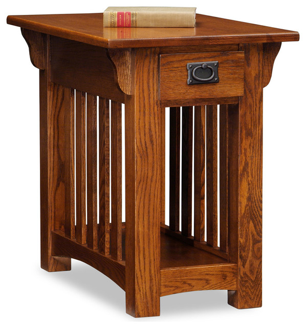 8206, Ash Chairside Table, Medium Oak Finish