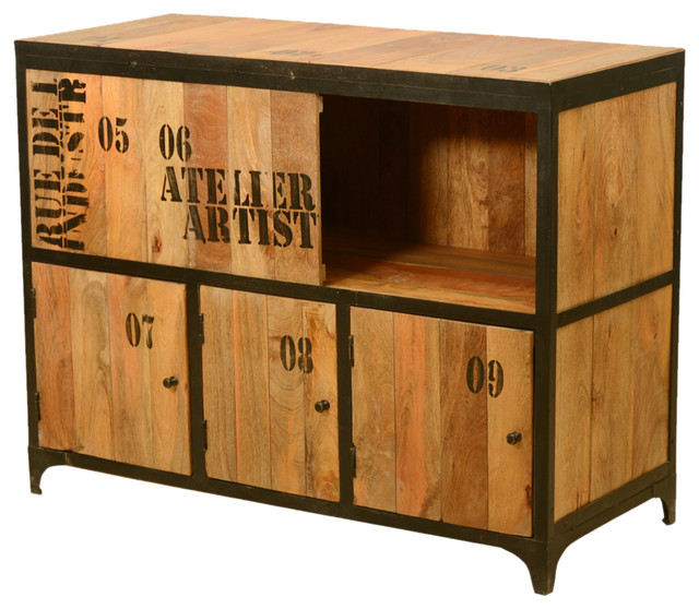 By The Numbers Artist Mango Wood Iron Siding Door Cabinet Storage Cabinets