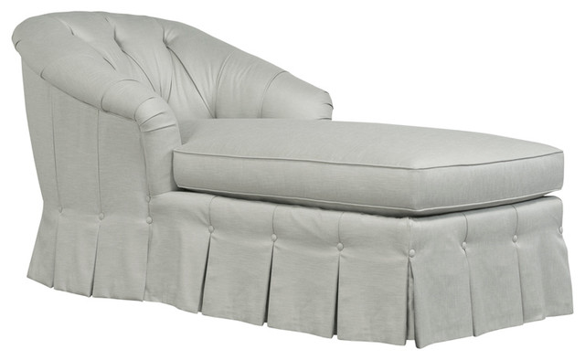 Tuscany, Tufted Back Chaise With Skirt, Navy.