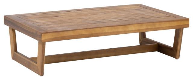 Hannah Outdoor Acacia Wood Coffee Table, Teak Finish
