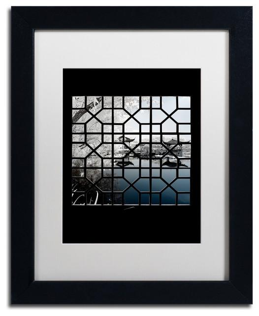 Philippe Hugonnard 'Navy Blue ' Art, Black Frame, White Matte, 14x11 by Trademark Fine Art