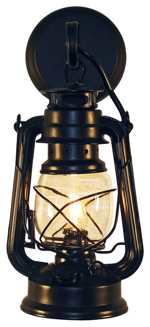 Wall-Mounted Lantern Black Small rustic-wall-sconces  sc 1 st  Houzz & Rustic Lantern Wall Mounted Light Small Rustic - Rustic - Wall ... azcodes.com