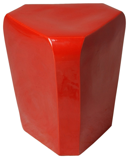 Emissary Triangle Coral Red Garden Stool Contemporary Accent And Garden  Stools
