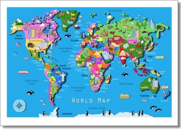 Kids World Map Contemporary Childrens Wall Art
