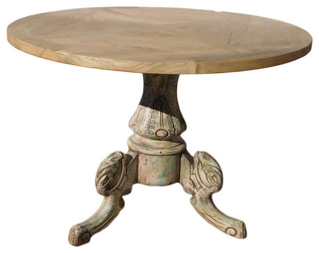 Chinese Raw Natural Wood Tri Legs Base Round Pedestal Table Asian Side  Tables