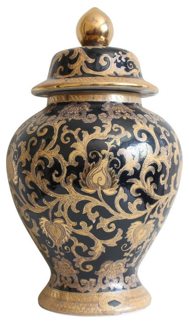Chinese Black And Gold Tapestry Porcelain Temple Jar 14