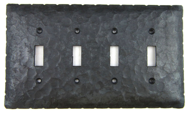 rustic rancho iron switch plate cover 4 toggle - rustic - switch