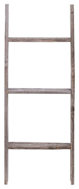 Jolene Reclaimed Barn Wood Rustic Ladder, 3' - Farmhouse ...