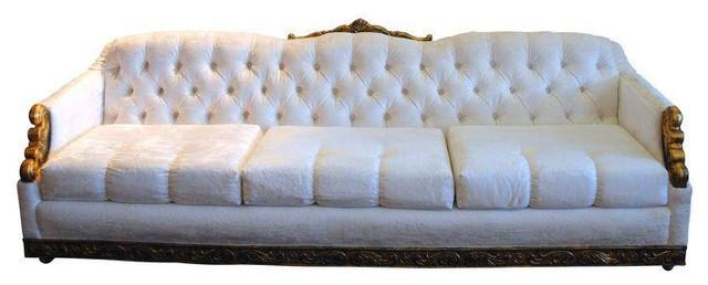 Hollywood Regency Magic White Velvet Tufted Sofa