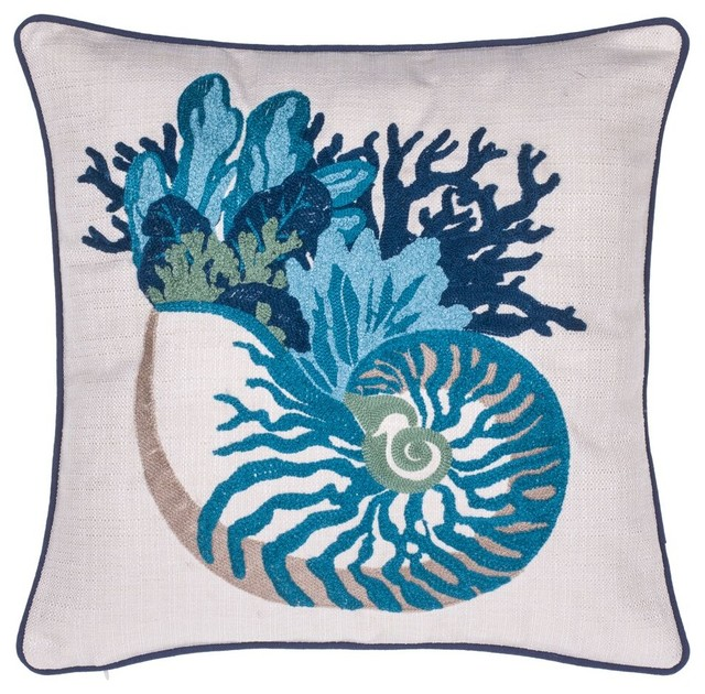coral and sea snail crewel stitch pillow beach style decorative pillows - Coral Decorative Pillows