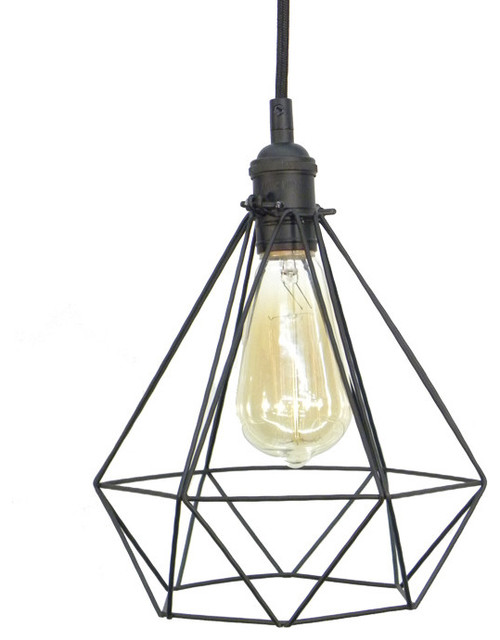 Diamond Cage Pendant Light Black