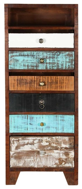 Rustic Colors Mango Wood Accent 6-Drawer Tall Dresser.