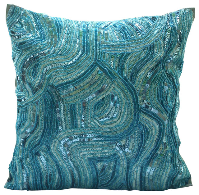 Sequins And Beaded Blue Art Silk 16x16 Decorative Pillow Covers, Aqua Infinity.