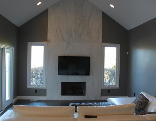 Inspiration for a contemporary family room remodel in Indianapolis