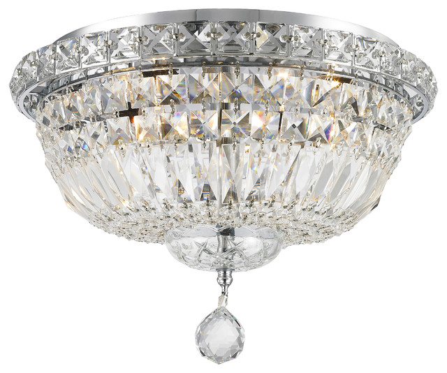 Empire 4-Light Chrome Finish Crystal Flush Mount Ceiling Light 14 Round Medium.