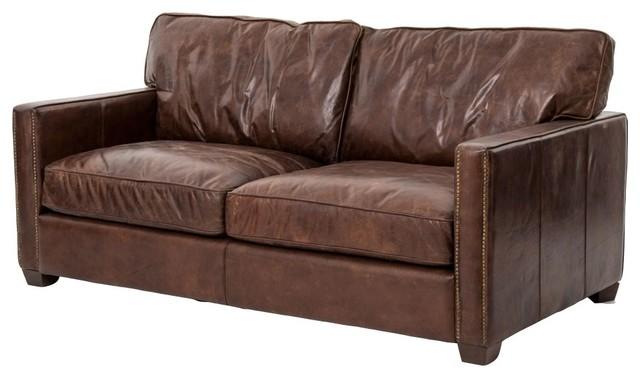 Larkin 2 Seater Vintage Cigar Distressed Leather Sofa - Transitional ...