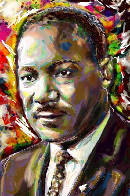"Martin Luther King Art Print, MLK Canvas, 8""x12"", Matte Photo Paper, Semi-Gloss"