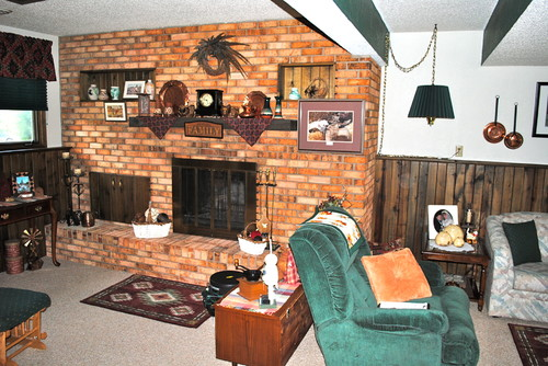fireplace  wood paneling paint dilemma