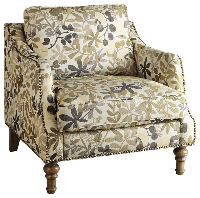 coaster upholstered accent chair leaf pattern
