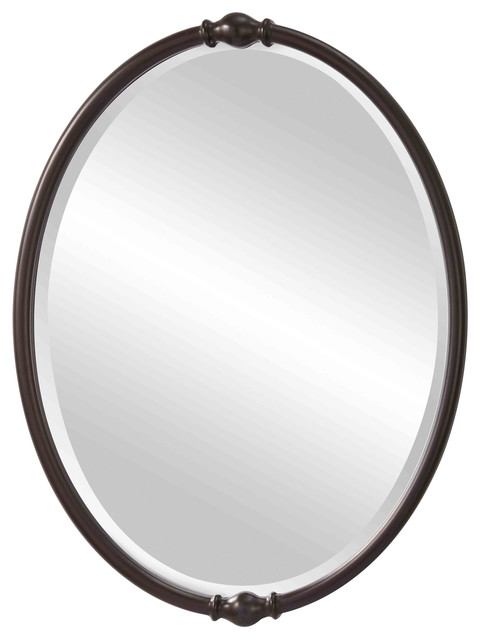 "Shop Houzz | Feiss - Monte Carlo Feiss Jackie 32.875"" H x 24"" W Oval Mirror, Oil Rubbed Bronze ..."