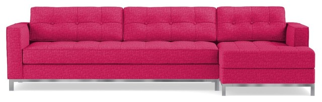 Fillmore 2-Piece Sectional Sofa, Pink Lemonade, Chaise On Right.