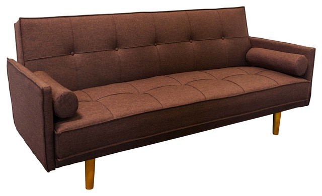 midcentury convertible sofa bed futon brown