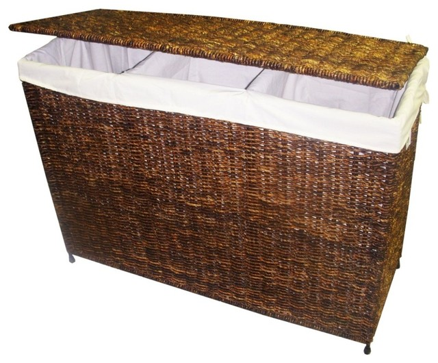 3-Section Woven Maize Hamper In Walnut Finish W Full Load Liner.