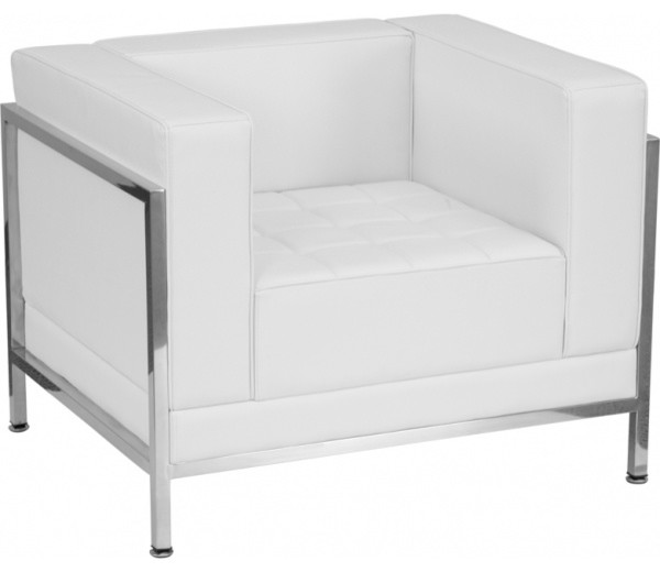 Flash Furniture White Leather Chair Contemporary