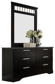 Standard Furniture Atlanta 6-Drawer Dresser with Mirror in Ebony Black