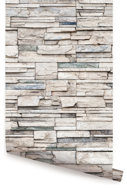 """Peel-and-Stick Faux Stone Wallpaper, 24""""x108"""""""