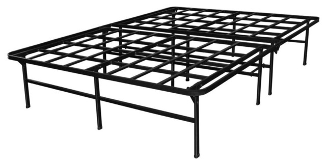 heavy duty metal platform bed frame supports up to 4400 lbs queen size contemporary - Metal Platform Bed Frame Queen