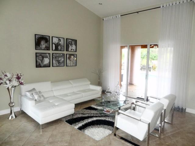 Modern Grommet Style Sheer Window Treatment Contemporary Living Room Mi