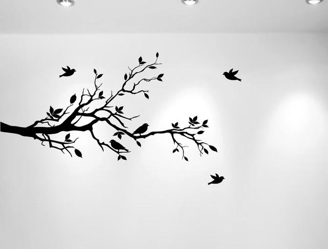 Tree Branches And Love Birds Vinyl Sticker 56 X28 Black